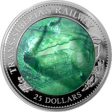 Stříbrná mince 5 Oz Transsibiřská magistrála 100. výročí 2016 Perleť Proof