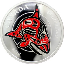 Stříbrná mince 5 Oz Orca Mythical Realms of the Haida 2016 Proof (.9999)