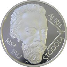 Stříbrná mince Aurel Stodola 10 € Slovensko 150. Výročí narození 2009