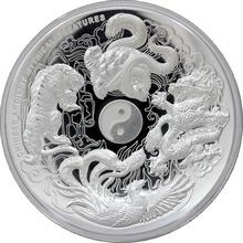 Stříbrná mince 5 Oz Čínské starověké mytické bytosti High Relief 2015 Proof