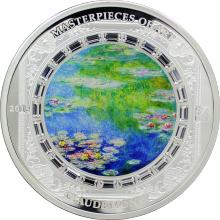 Stříbrná mince 3 Oz Lekníny Claude Monet 2015 Krystaly Proof