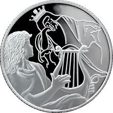 Stříbrná mince David hraje Saulovi 2 NIS Izrael Biblické umění 2013 Proof