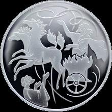 Stříbrná mince Elijáš a Vzdušný vír 1 NIS Izrael Biblické umění 2011 Proof