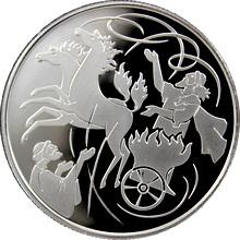 Stříbrná mince Elijáš a Vzdušný vír 2 NIS Izrael Biblické umění 2011 Proof