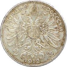 Stříbrná mince Dvoukoruna Františka Josefa I. Rakouská ražba 1912