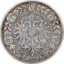 Stříbrná mince Pětikoruna Františka Josefa I. Rakouská ražba 1900