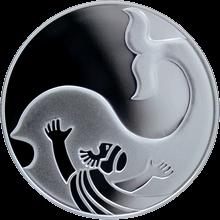 Stříbrná mince Jonáš a Velryba 1 NIS Izrael Biblické umění 2010 Proof