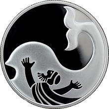 Stříbrná mince Jonáš a Velryba 2 NIS Izrael Biblické umění 2010 Proof