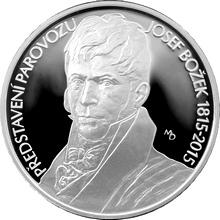 Strieborná minca 200 Kč Jozef Božek predviedol parovoz 200. výročie 2015 Proof