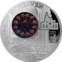 Stříbrná mince Kostel sv. Mikuláše Stockholm Okno Krista 2015 Proof