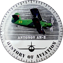 Stříbrná mince kolorovaný Antonov AN-2 History of Aviation 2015 Proof