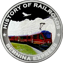 Stříbrná minca kolorovaný Bernina Express History of Railroads 2011 Proof