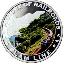Stříbrná mince kolorovaný Flam Line History of Railroads 2011 Proof