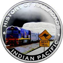 Stříbrná mince kolorovaný Indian Pacific History of Railroads 2011 Proof