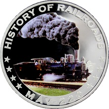 Stříbrná mince kolorovaný MAV - 220 History of Railroads 2011 Proof