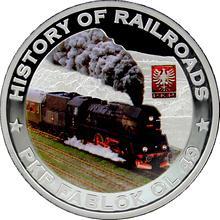 Stříbrná mince kolorovaný PKP Fablok OL 49 History of Railroads 2011 Proof