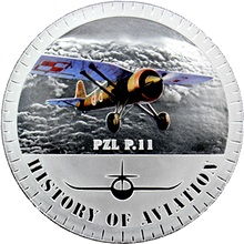 Stříbrná mince kolorovaný PZL P11 History of Aviation 2014 Proof