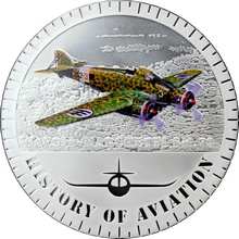 Stříbrná mince kolorovaný Savoia-Marchetti SM.79 History of Aviation 2015 Proof