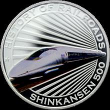 Stříbrná mince kolorovaný Shinkansen 500 History of Railroads 2011 Proof
