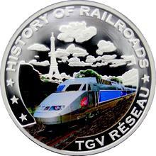 Stříbrná mince kolorovaný TGV Reseau History of Railroads 2011 Proof