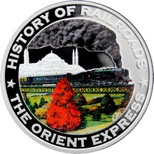 Stříbrná mince kolorovaný The Orient Express History of Railroads 2011 Proof