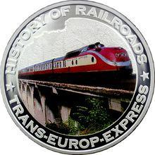 Stříbrná mince kolorovaný Trans-Europ-Express History of Railroads 2011 Proof