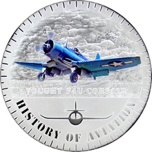 Stříbrná mince kolorovaný Vought F4U Corsair History of Aviation 2015 Proof