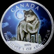 Stříbrná mince kolorovaný Vlk Canadian Wildlife 1 Oz 2011 Štandard