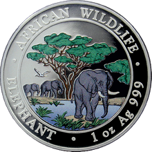 Stříbrná mince kolorovaný slon africký 1 Oz Proof