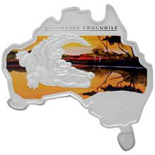 Stříbrná mince Krokodýl mořský Australian Map 1 Oz 2014 Proof
