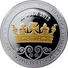 Stříbrná mince pozlacená Royal Baby 1 Oz 2013 Proof