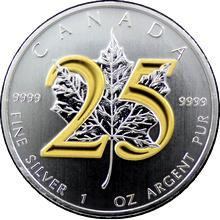 Stříbrná mince pozlacená Maple Leaf 25. výročí 1 Oz 2013 Standard
