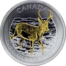 Stříbrná mince pozlacená Antilopa Canadian Wildlife 1 Oz 2013 Štandard