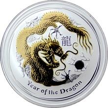 Stříbrná mince pozlacený Year of the Dragon Rok Draka Lunární 1 Oz 2012 Standard