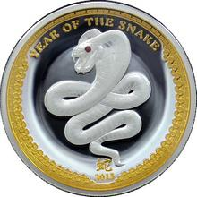 Stříbrná mince pozlacený Year of the Snake Rok Hada High Relief 2013 Proof