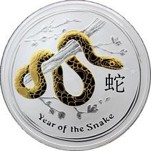 Stříbrná mince pozlacený Year of the Snake Rok Hada Lunární 1 Oz 2013 Standard