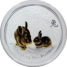 Stříbrná mince pozlacený Year of the Rabbit Rok Králíka Lunární 1 Oz 2011 Standard