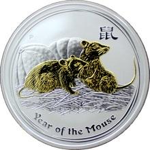 Stříbrná mince pozlacený Year of the Mouse Rok Myši Lunární 1 Oz 2008 Standard
