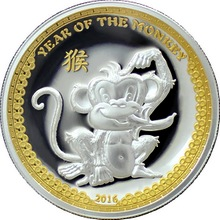 Stříbrná mince pozlacený Year of the Monkey Rok Opice High Relief 2016 Proof