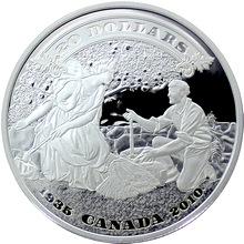 Stříbrná mince První kanadské bankovky 75. výročí 1 Oz 2010 Proof (.9999)