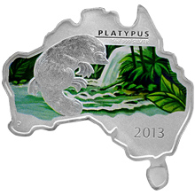 Stříbrná mince Ptakopysk Australian Map 1 Oz 2013 Proof