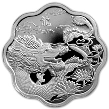 Stříbrná mince Year of the Dragon Rok Draka Lotos 2012 Proof