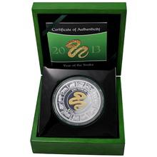 Stříbrná mince pozlacený 5 Oz Year of the Snake Rok Hada 2013 Proof