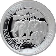 Stříbrná mince Slon africký African Wildlife High Relief 1 Oz 2013 Proof