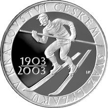 Stříbrná mince 200 Kč Svaz lyžařů v Království českém 100. výročí 2003 Proof