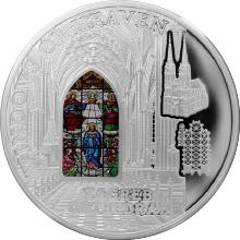 Stříbrná mince Záhřebská katedrála Okno Nanebevzetí 2015 Proof