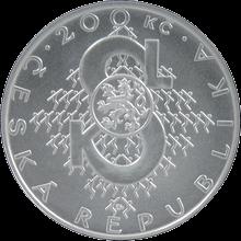 Strieborná minca 200 Kč Založenie Sokola 150. výročie 2012 Štandard