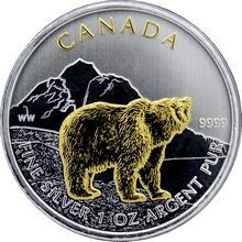 Stříbrná mince pozlacený Grizzly Canadian Wildlife 1 Oz 2011 Standard