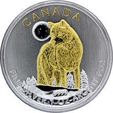 Stříbrná mince pozlacený Vlk Canadian Wildlife 1 Oz 2011 Štandard