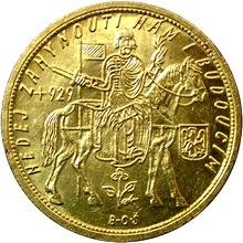Zlatá mince Svatý Václav Desetidukát Československý 1929